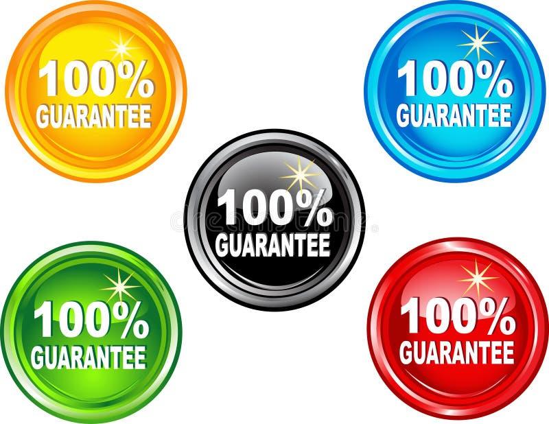 Garantía del botón el 100% stock de ilustración