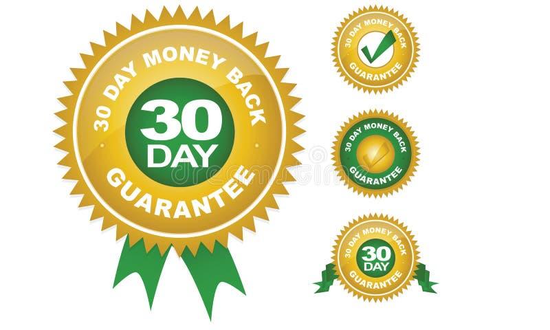 Garantia da parte traseira do dinheiro (30 - dia) ilustração do vetor