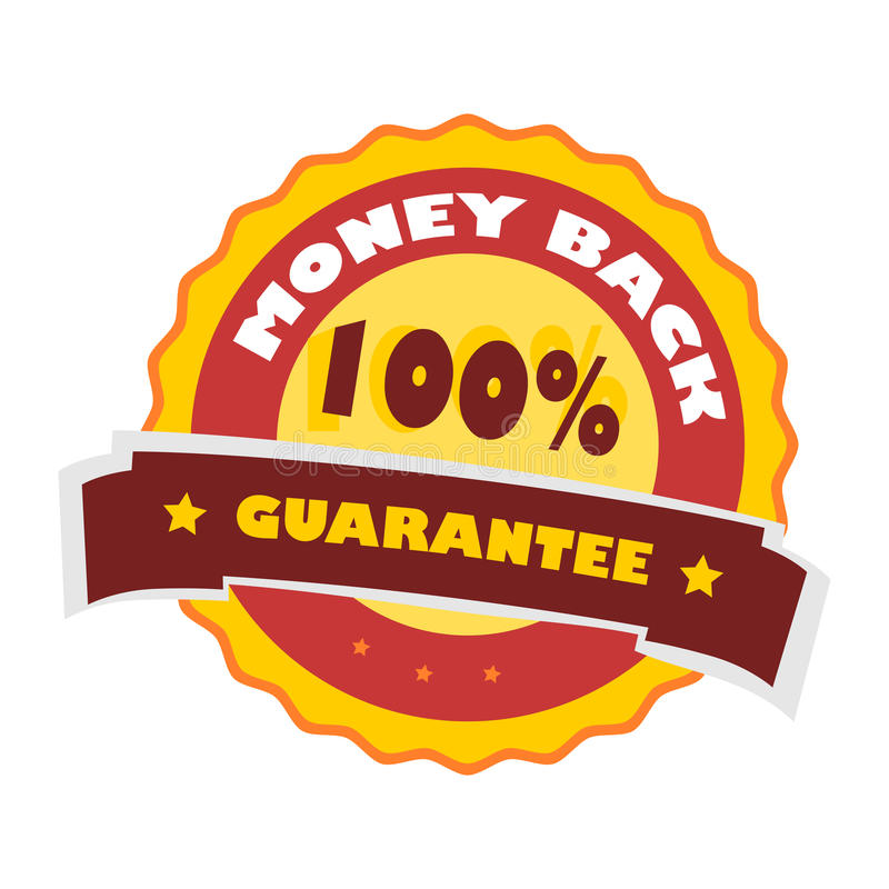 Garantia 100% traseira do dinheiro ilustração royalty free