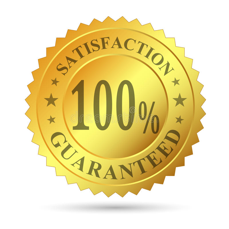 Garantie de satisfaction d'insigne d'or illustration stock