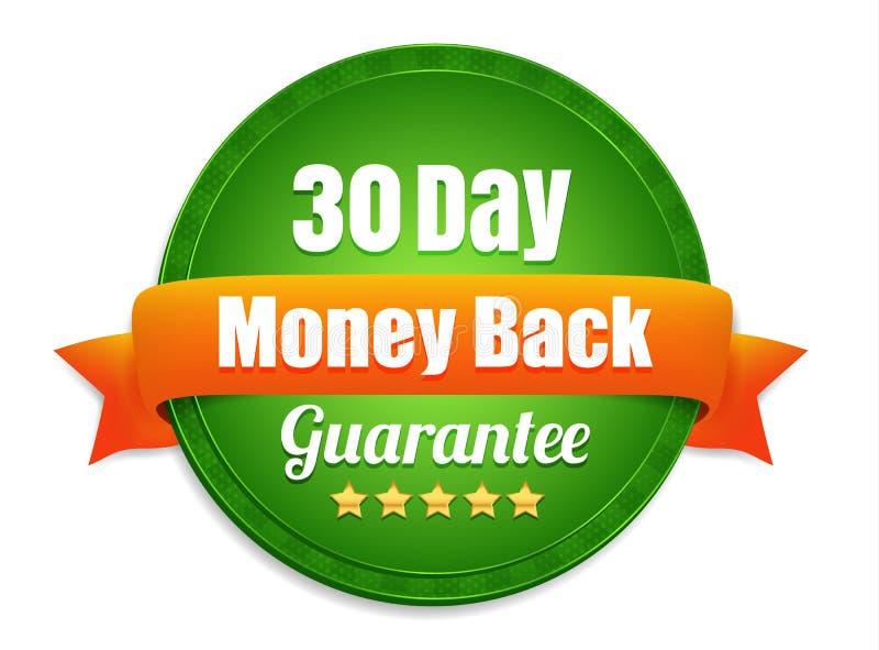 Garantie de trente jours de dos d'argent illustration stock