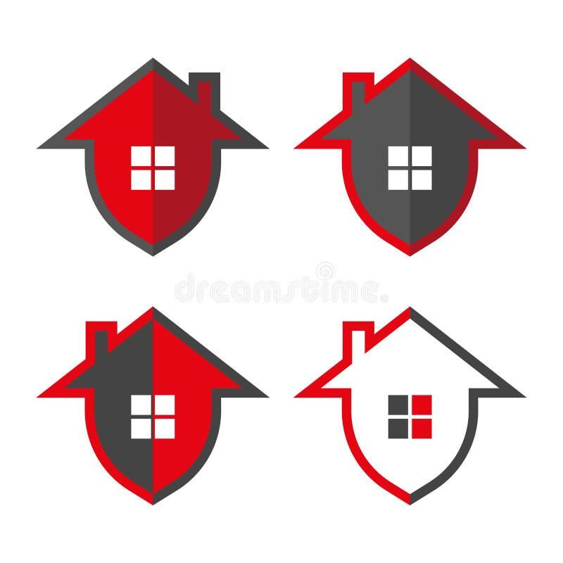Garantie ? la maison Maison dans le bouclier de forme, illustrations de vecteur Protection ? la maison Logo Design Template Boucl illustration de vecteur