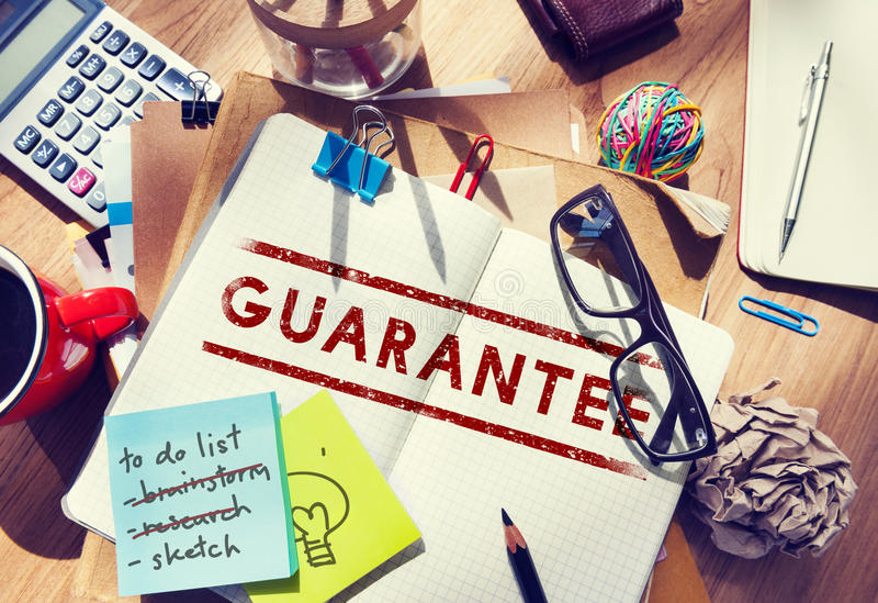 Garantie-Versicherung zugelassenes Qualitäts-vertrauenswürdiges Konzept stockfotografie