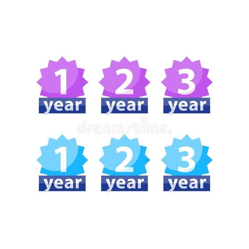 Garantiemarkering, één twee driejarige waarborg, vector vlak pictogram vector illustratie