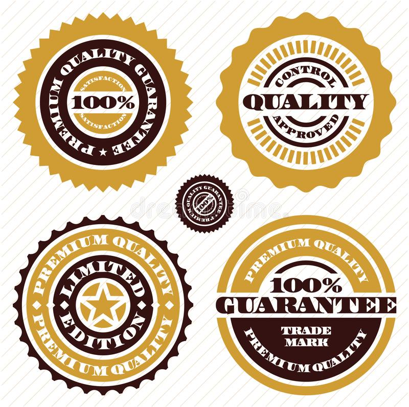 Garantistämpeluppsättning Högvärdigt tecken för kvalitets- garanti 100 guaranteeprocent royaltyfri illustrationer