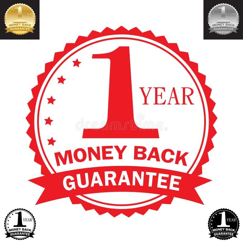 Garanzia della parte posteriore dei soldi da 1 anno illustrazione vettoriale