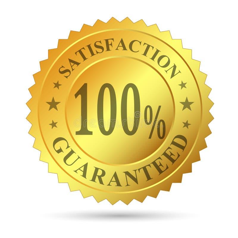 Garanzia di soddisfazione del distintivo dell'oro fotografia stock