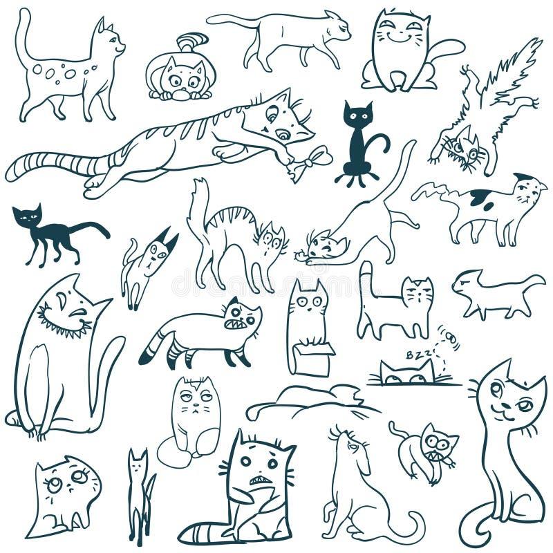 Garatuja ajustada gatos ilustração stock