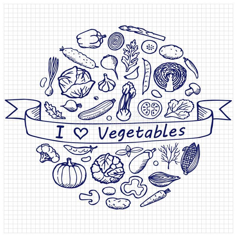 A garatuja ajustou vegetais do amor de I ilustração royalty free