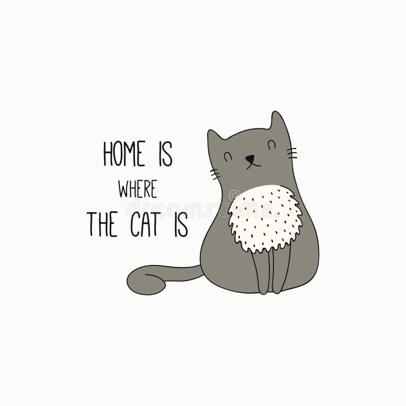 Garatuja bonito do gato com citações ilustração do vetor