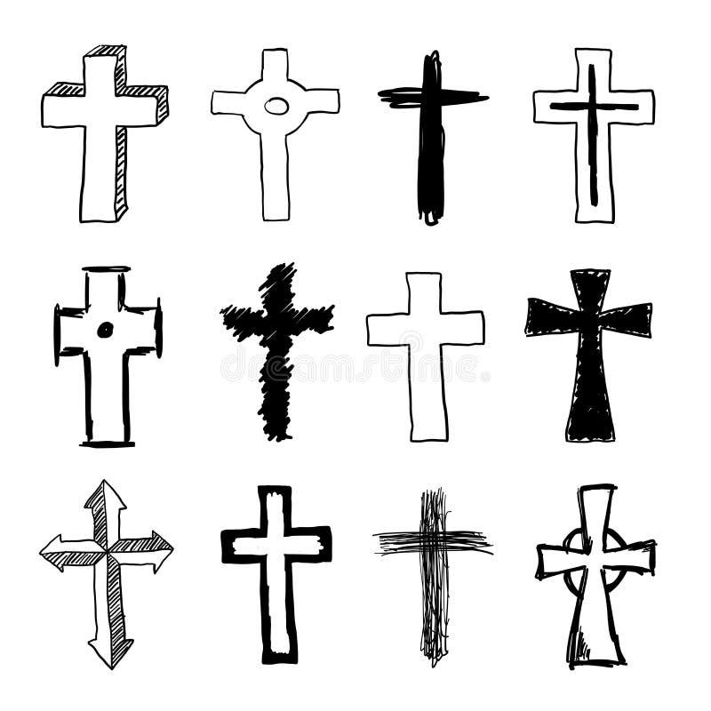 Garatuja Christian Cross Set ilustração stock