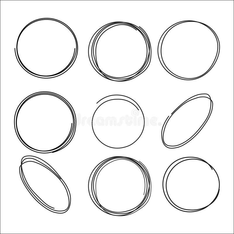 Garatuja circular do vetor, elipses, círculos para o texto, elemento do projeto ilustração stock