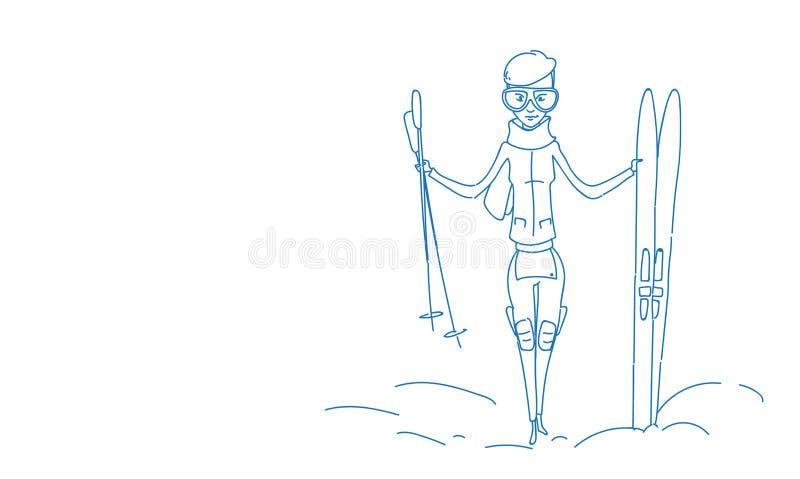 Garatuja completa do esboço do comprimento do desportista do conceito das férias do esporte da atividade do inverno do esqui da p ilustração stock