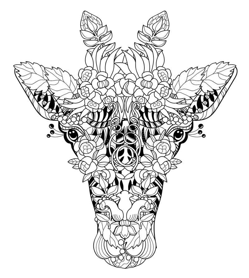 Garatuja da cabeça do girafa no fundo branco ilustração do vetor