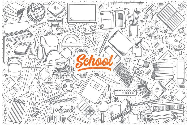 Garatuja da escola ajustada com rotulação alaranjada ilustração stock