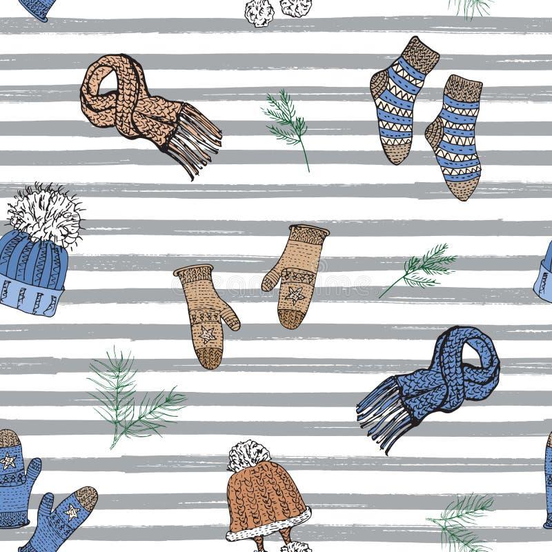A garatuja da estação do inverno veste o teste padrão sem emenda Entregue a elementos tirados do esboço peúgas, luvas e chapéus m ilustração do vetor