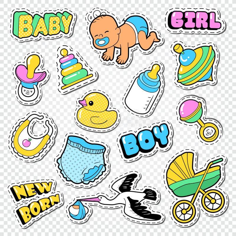 Garatuja da festa do bebê com menino, menina e brinquedos Etiquetas da decoração do partido da família ilustração stock