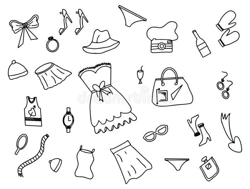 Garatuja da forma da mulher com vetor preto e branco do estilo do esboço ilustração royalty free