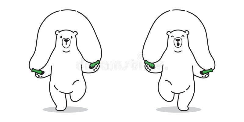 Garatuja da ilustração do caráter da corda de salto dos desenhos animados do urso polar do ícone do vetor do urso ilustração stock