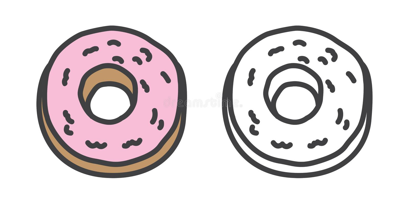 Garatuja da ilustração dos desenhos animados do caráter do ícone do bolo do vetor dos anéis de espuma ilustração do vetor