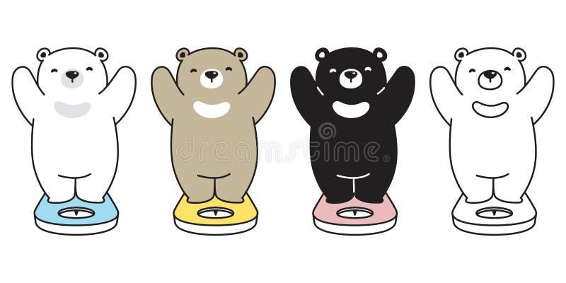 Garatuja da peluche da ilustração do logotipo dos desenhos animados do caráter das escalas de peso do ícone do urso polar do veto ilustração royalty free