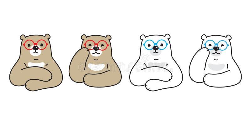 Garatuja da peluche da ilustração do logotipo dos desenhos animados do caráter dos vidros do ícone do urso polar do vetor do urso ilustração do vetor