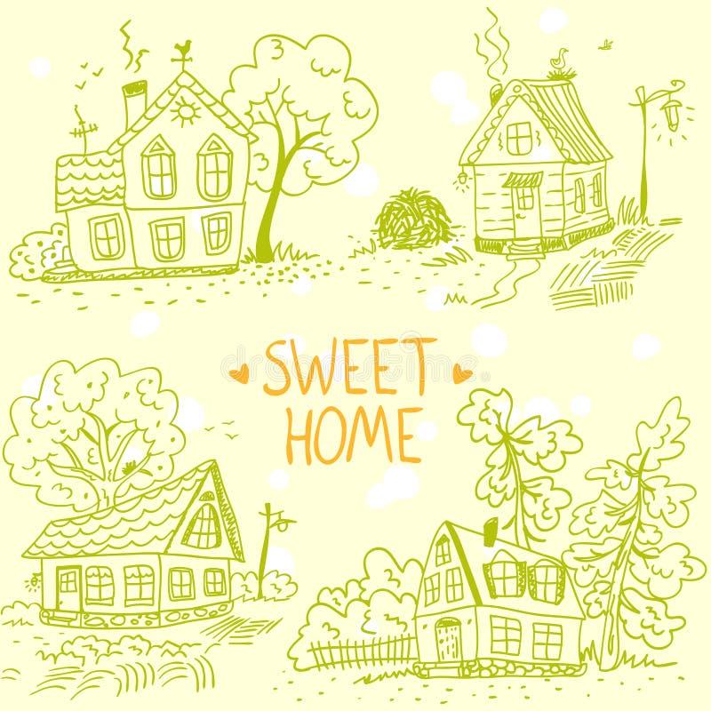 Garatuja das casas ilustração royalty free