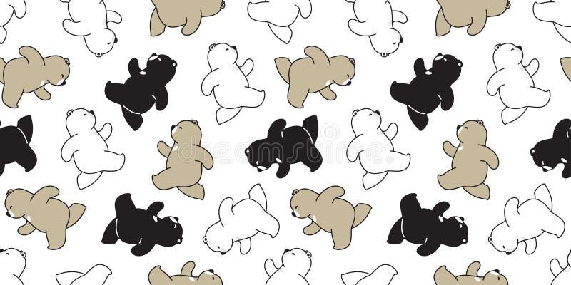 Garatuja de corrida da ilustração do logotipo do ícone do personagem de banda desenhada do urso polar do vetor do teste padrão se ilustração royalty free