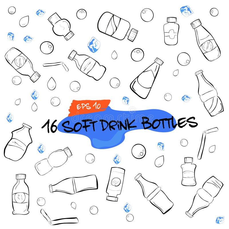 Garatuja de dezesseis garrafas do refresco, gotas da água, bolhas e cubos de gelo ilustração royalty free