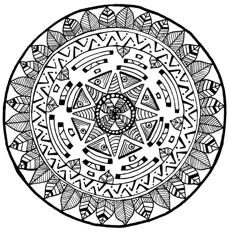 Garatuja de Maya Round Mandala para a ioga e a meditação ilustração stock