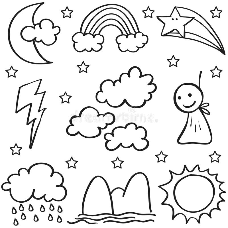 Garatuja de sol ajustado do trovão da nuvem do tempo ilustração royalty free