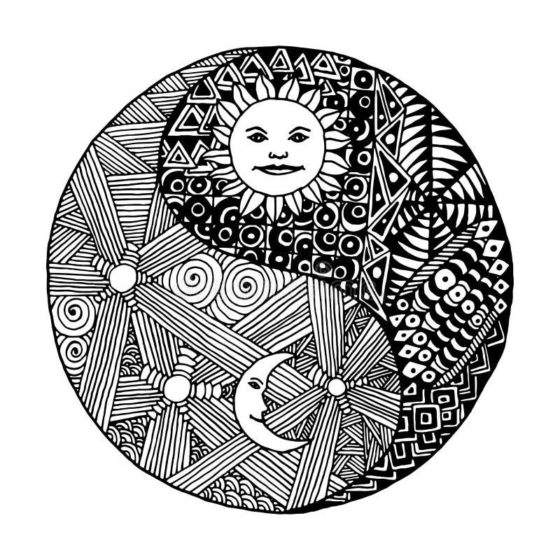 Garatuja de Yin yang, zentangl, lua na noite ilustração royalty free