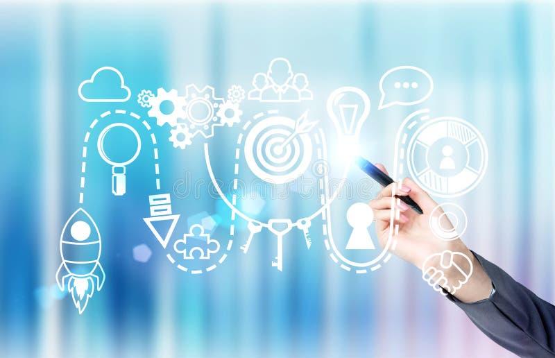 Garatuja digital do conceito Startup ilustração stock