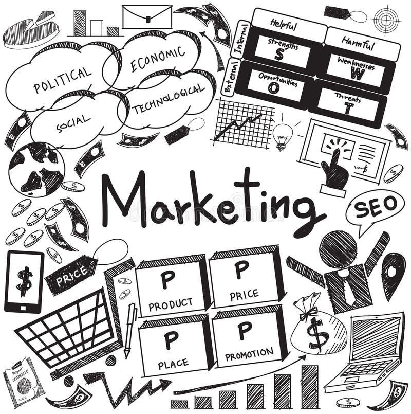 Garatuja do ícone da propaganda da gestão empresarial e do mercado (vetor) ilustração stock