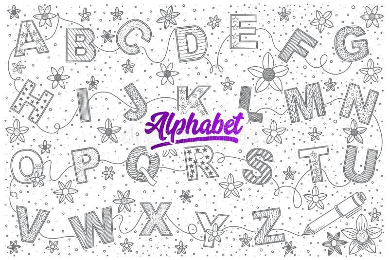 Garatuja do alfabeto ajustada com rotulação brilhante ilustração royalty free