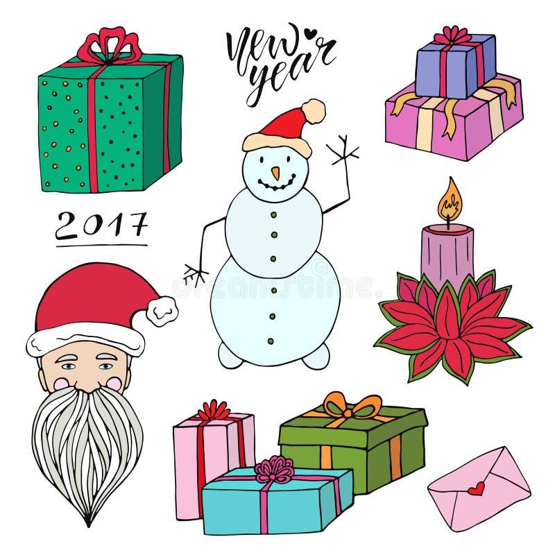 A garatuja do ano novo ajustou-se com Santa, presentes e boneco de neve Elementos brilhantes do vetor do Natal Decoração dos cart ilustração do vetor