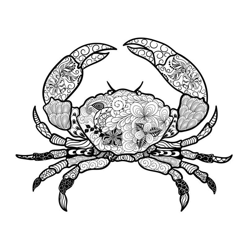 Garatuja do caranguejo ilustração stock