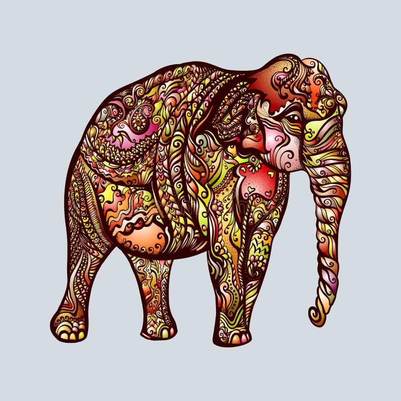 Garatuja do elefante ilustração stock