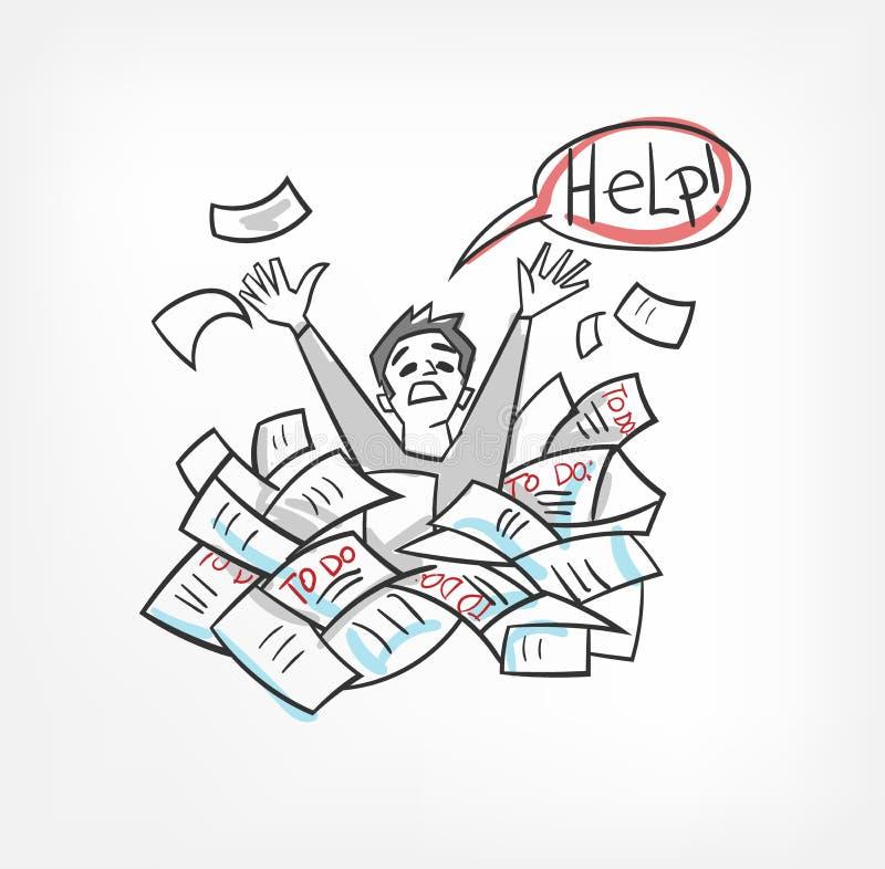 Garatuja do esboço dos documentos de conceito da ilustração do vetor da burocracia ilustração royalty free