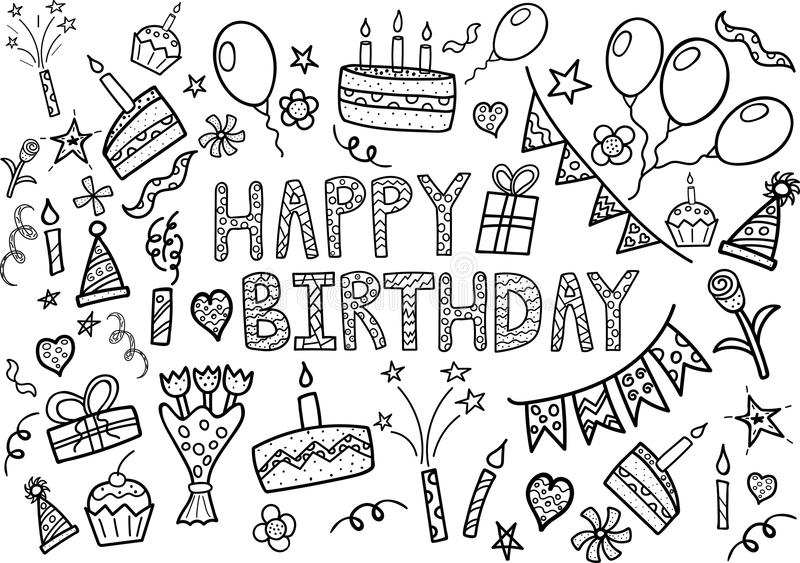 A garatuja do feliz aniversario ajustou-se com elementos tirados mão ilustração royalty free