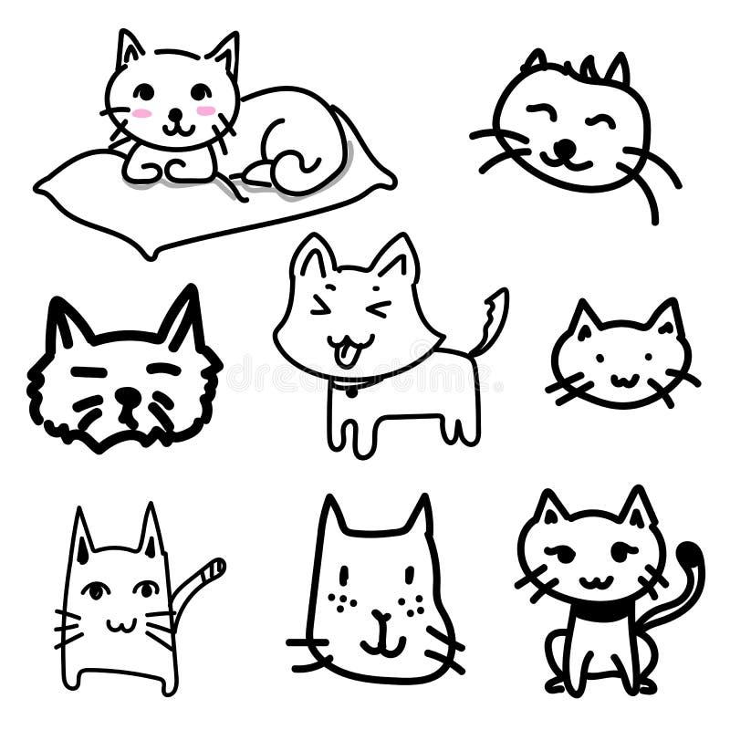 Garatuja do gato que tira um vetor no fundo branco ilustração royalty free