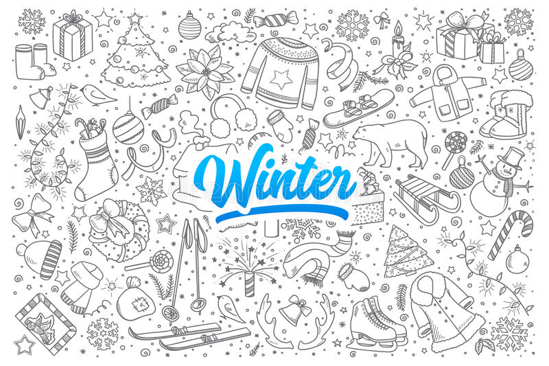 Garatuja do inverno ajustada com rotulação ilustração do vetor