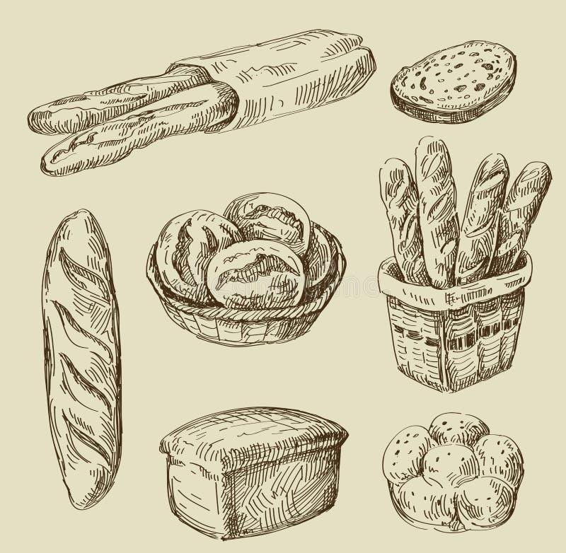 Garatuja do pão ilustração royalty free