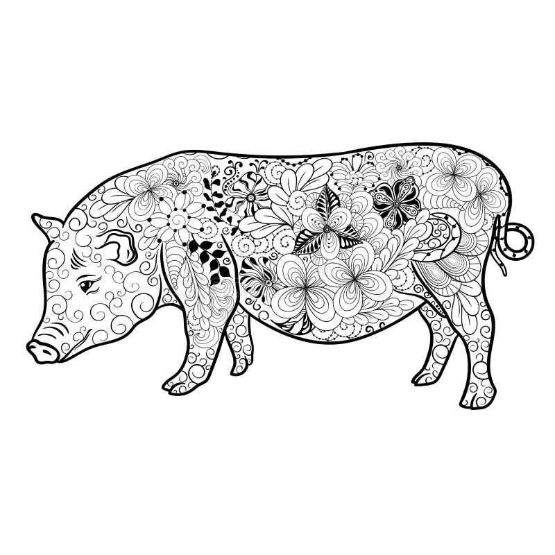Garatuja do porco ilustração royalty free
