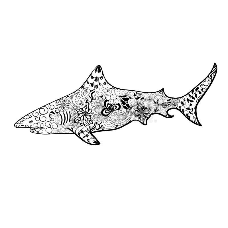 Garatuja do tubarão ilustração royalty free