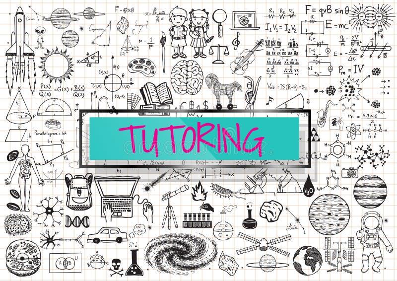 Garatuja do tutoria com o 3d transparente ilustração stock