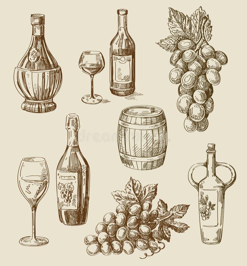 Garatuja do vinho ilustração stock