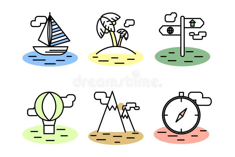 Garatuja dos ícones do curso do verão ajustada com cor fotos de stock
