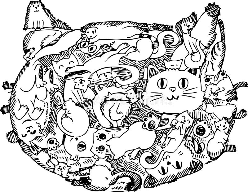 Garatuja esboçado da cara do gato