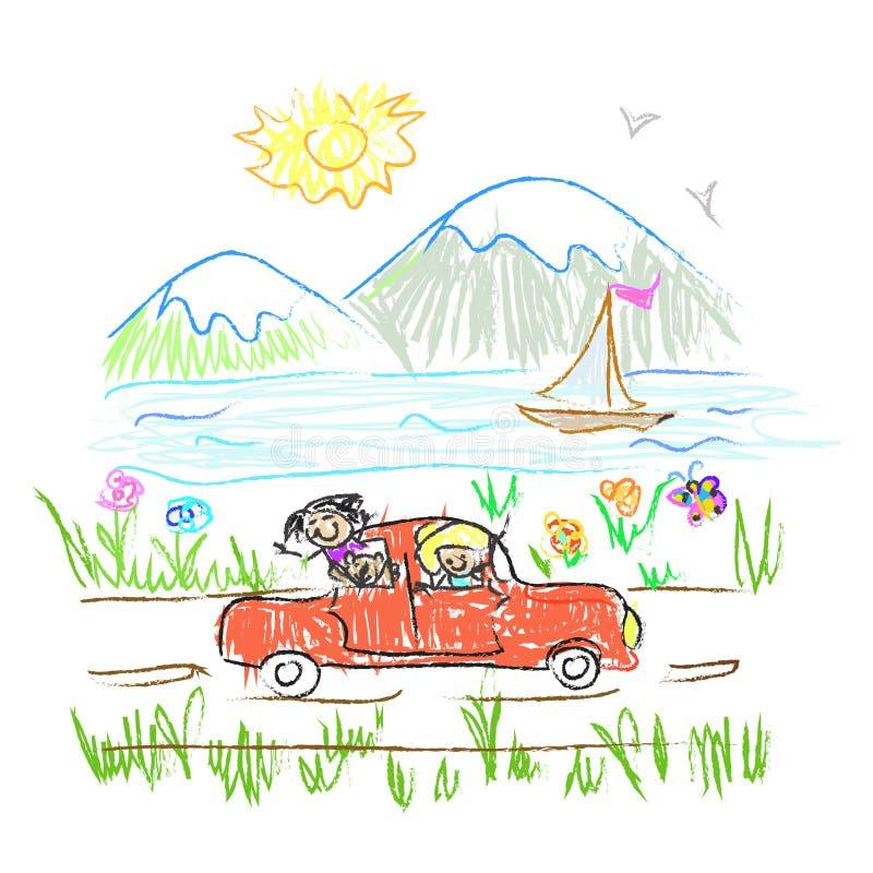 Garatuja feliz da viagem da família ilustração do vetor